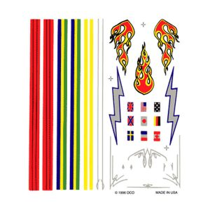 Stripes and Flames Dry Transfer Decals