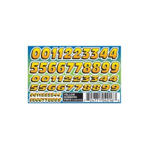 Yellow Numbers Dry Transfer Decals