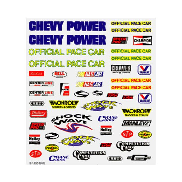 Stock Car Dry Transfer Decals