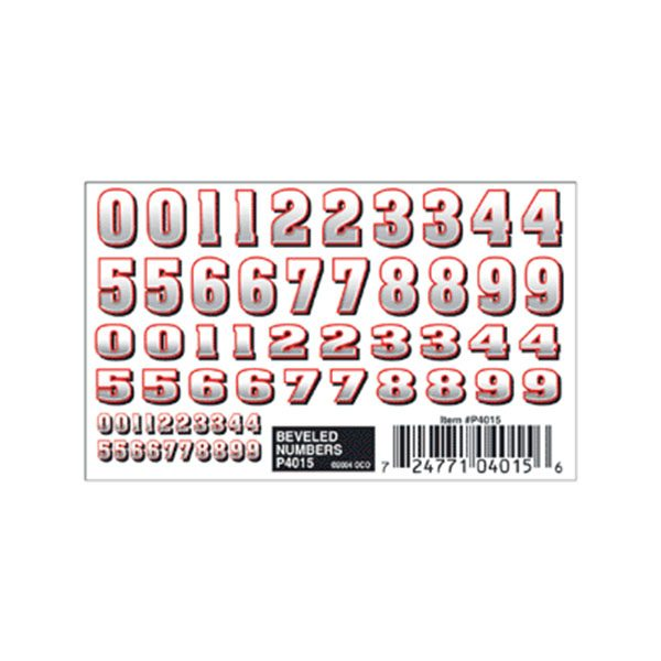 Beveled Numbers Dry Transfer Decals