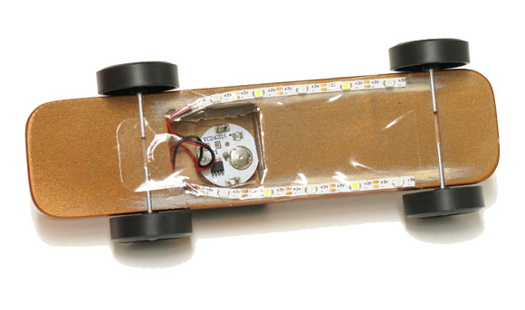 pinewood derby car lights bottom view