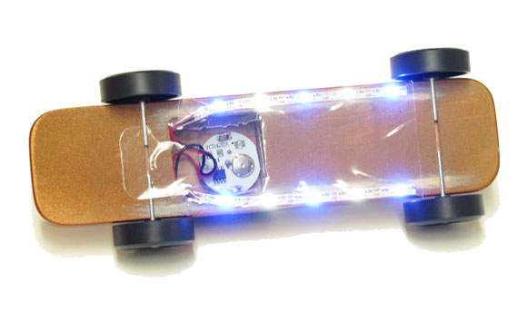 pinewood derby car underglow lights on