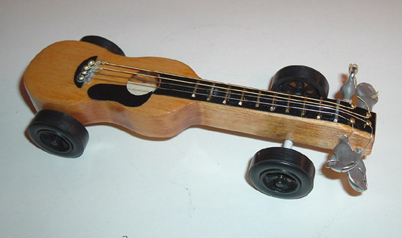 pinewood derby guitar car