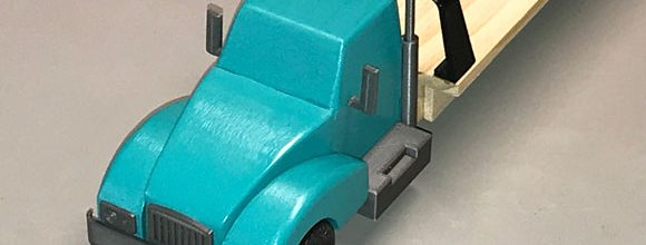 pinewood derby big rig turquoise front