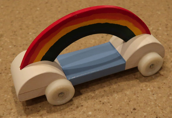 pinewood derby rainbow car