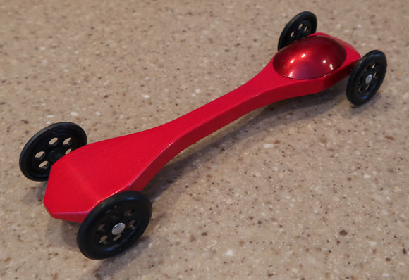 pinewood derby red rocket car